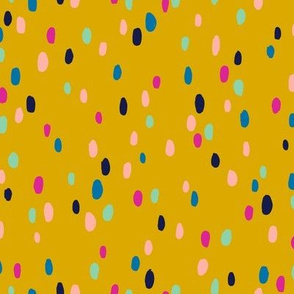 Applause* (Gold Marilyn) || abstract spots dots confetti doodle scribble mustard terrazzo
