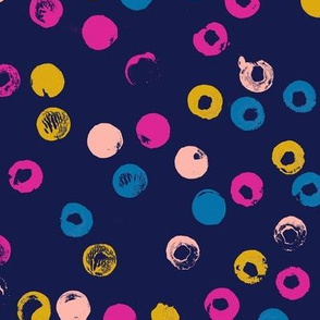 Heckler* (Jackie Blue) || circles spots dots stamped rubber cork abstract organic geometric scatter