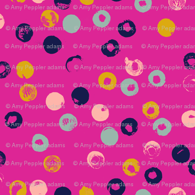 Heckler* (Pink Riot) || circles spots dots stamped rubber cork abstract organic geometric scatter