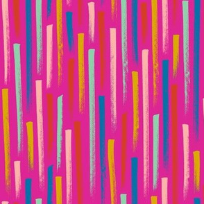 Prat Fall* (Pink Riot) || stripes magic marker speed gravity confetti doodle abstract party streamers