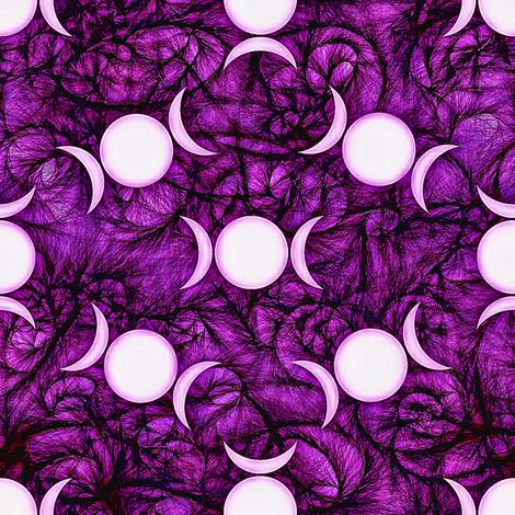 Purple goddess dark triple moon fabric by trgatesart on Spoonflower - custom fabric