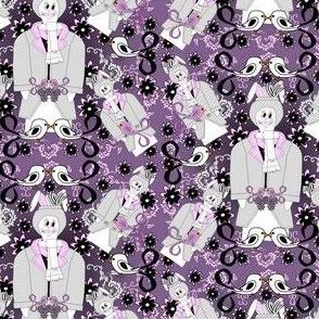 Devin A Bunny Gentleman, Birds & Flowers Victorian Fabric #1