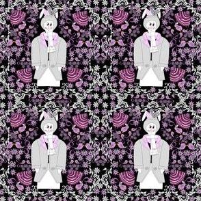 Devin A Bunny Gentleman, Birds & Flowers Victorian Fabric #2