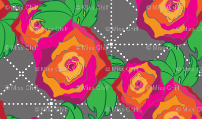 Rose Peach Orange Pink Red on Gray Trellis Floral_Miss Chiff Designs