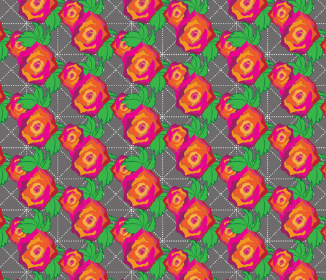 Rose Peach Orange Pink Red on Gray Trellis Floral_Miss Chiff Designs fabric by misschiffdesigns on Spoonflower - custom fabric