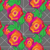 Roses on Gray Trellis_Miss Chiff Designs