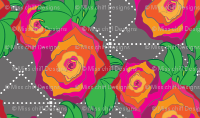 Large Rose Peach Orange Pink Red on Gray grey Trellis lattice Floral Botanical _Miss Chiff Designs