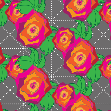 Large Rose Peach Orange Pink Red on Gray grey Trellis lattice Floral Botanical _Miss Chiff Designs fabric by misschiffdesigns on Spoonflower - custom fabric