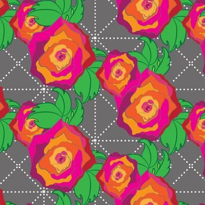 15-07 Large Rose Peach Orange Pink Red on Gray grey Trellis lattice Floral Botanical _Miss Chiff Designs