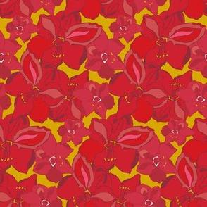 Amaryllis on Mustard_Miss Chiff Designs