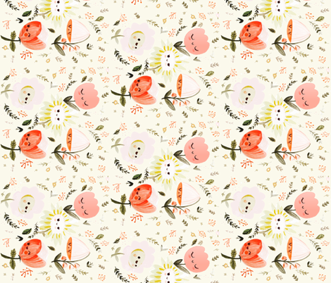 Happy Flower- Vertical fabric by ginamayes on Spoonflower - custom fabric