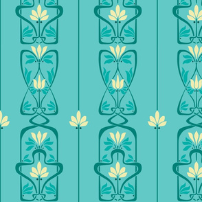 Art Nouveau Flowers and Leaves Teal Yellow