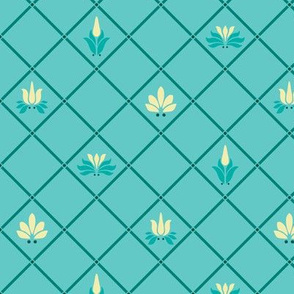 Art Nouveau Flowers and Leaves Trellis Teal Yellow