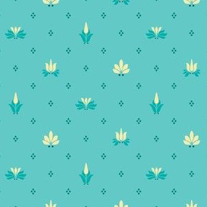 Art Nouveau Flowers and Leaves Allover Teal Yellow