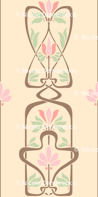 Art Nouveau Flowers and Leaves Cream Brown Pink Green