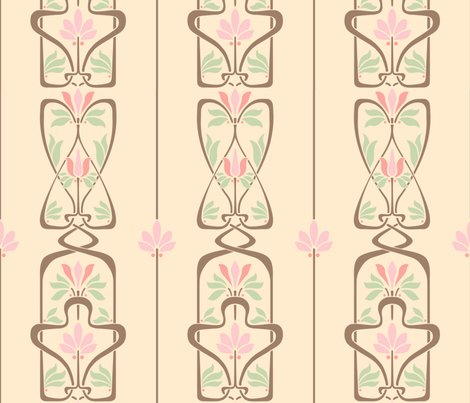 Rart_nouveau_flowers_and_leaves_cream_brown_pink_green_shop_preview