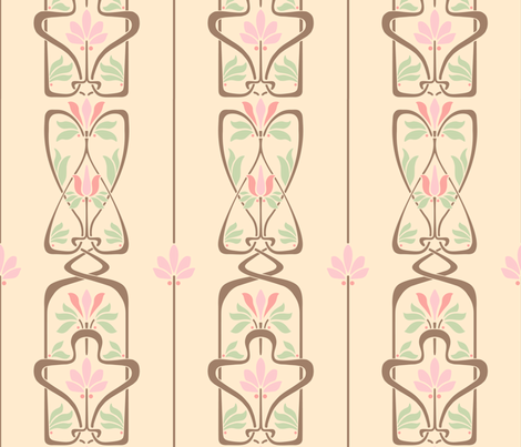 Art Nouveau Flowers and Leaves Cream Brown Pink Green fabric by wickedrefined on Spoonflower - custom fabric