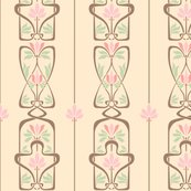 Rart_nouveau_flowers_and_leaves_cream_brown_pink_green_shop_thumb