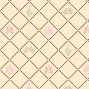Art Nouveau Flowers and Leaves Trellis Cream Brown Pink Green
