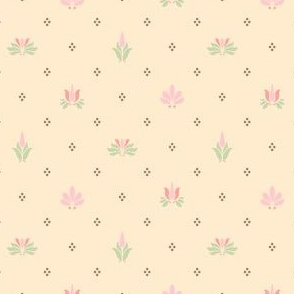 Art Nouveau Flowers and Leaves Allover Cream Brown Pink Green