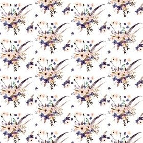Mini Boho Purple Floral & Arrows -  White