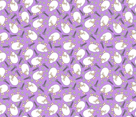 Screws and Ewes- purple medium fabric by shala on Spoonflower - custom fabric