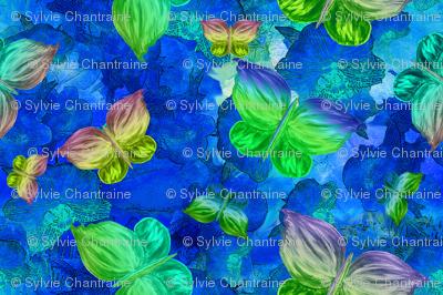 BUTTERFLIES EXOTIC JUNGLE ORCHID FLOWERS Blue Large