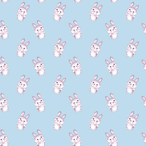 Cartoon rabbits on blue fabric by gribanessa on Spoonflower - custom fabric