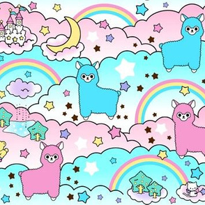 4 stars rainbows clouds trees ponds lakes teddy bears shooting cats fairy kei lolita sky skies alpacas kawaii japanese inspired moon castles llamas  colorful