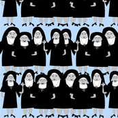 Whimsical Nuns in Habits BLUE