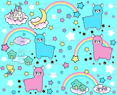 5 stars rainbows clouds trees ponds lakes teddy bears shooting cats fairy kei lolita sky skies alpacas kawaii japanese inspired moon castles llamas colorful