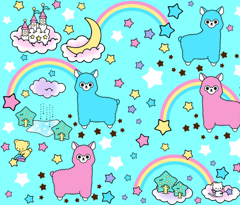 5 stars rainbows clouds trees ponds lakes teddy bears shooting cats fairy kei lolita sky skies alpacas kawaii japanese inspired moon castles llamas colorful fabric by raveneve on Spoonflower - custom fabric