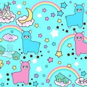 stars rainbows clouds trees ponds lakes teddy bears shooting cats fairy kei lolita sky skies alpacas sanrio inspired little twin stars moon castles llamas