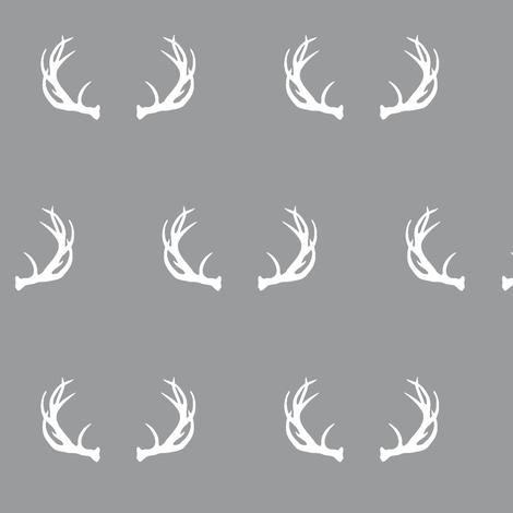 antlers // grey fabric by buckwoodsdesignco on Spoonflower - custom fabric