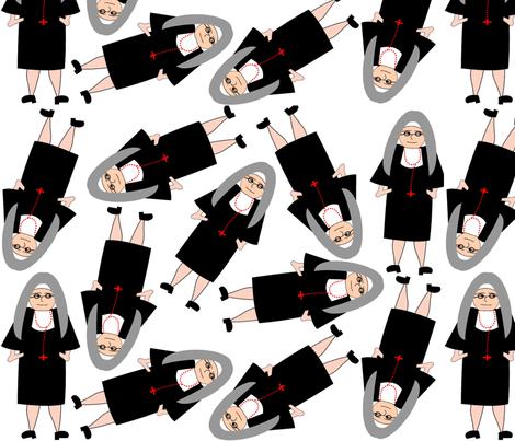 Nun in Traditional Habit fabric by hot4tees_bg@yahoo_com on Spoonflower - custom fabric