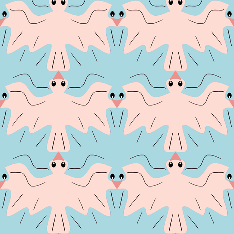 Tessellating Doves Pink Champagne Sky Blue fabric by eclectic_house on Spoonflower - custom fabric