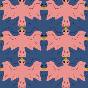 Tessellating Doves Coral and Navy