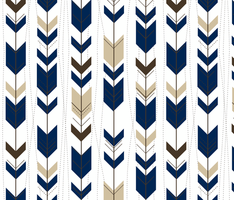 tribal arrows // indigo & brown fabric by buckwoodsdesignco on Spoonflower - custom fabric