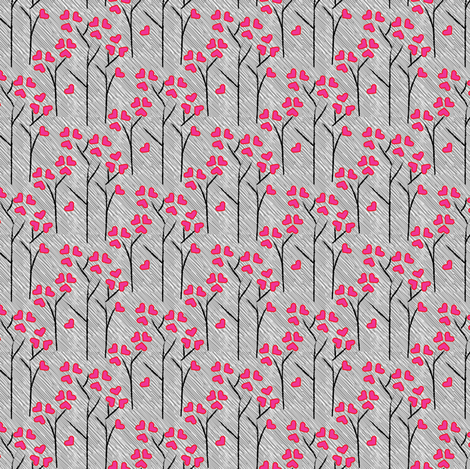 SMALL Love Tree Heart Leaf Leaves Forest Valentine  Rainy Day || Pink Gray White Black _Miss Chiff Designs fabric by misschiffdesigns on Spoonflower - custom fabric