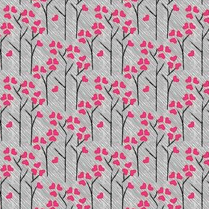 SMALL Love Tree Heart Leaf Leaves Forest Valentine Love on a Rainy Day || Pink Gray White Black _Miss Chiff Designs