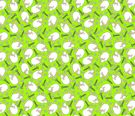 Screws and Ewes- green medium fabric by shala on Spoonflower - custom fabric