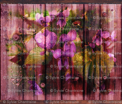 VIOLETS ON WOOD ROSEWOOD FAT pillow  panel