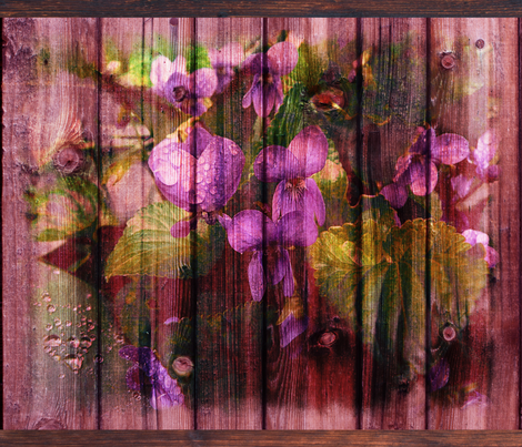 VIOLETS ON WOOD ROSEWOOD FAT pillow  panel fabric by paysmage on Spoonflower - custom fabric