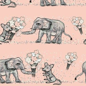 SIZE DOESN't MATTER ELEPHANT MICE FRIENDSHIP BOUQUET Pink Peach
