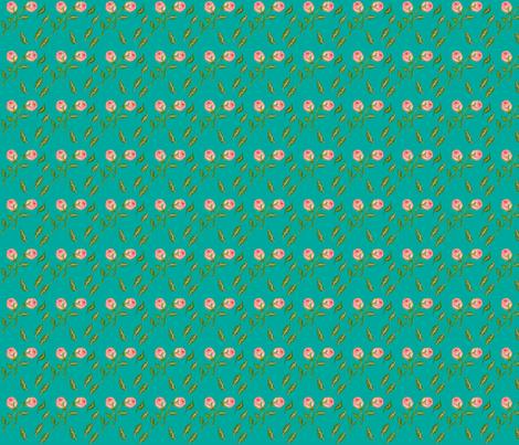 summer-roses-teal fabric by lonna_jordan on Spoonflower - custom fabric