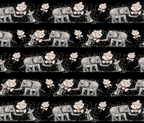 ELEPHANT_MICE_FRIENDSHIP_BOUQUET_BLACK fabric by paysmage on Spoonflower - custom fabric