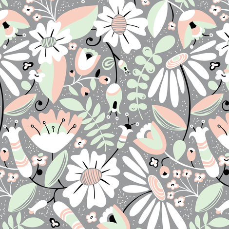 Annabelle - Floral Grey fabric by heatherdutton on Spoonflower - custom fabric