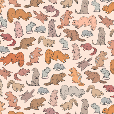 Rodents / Gnawers | Peach | Small Scale fabric by imaginaryanimal on Spoonflower - custom fabric