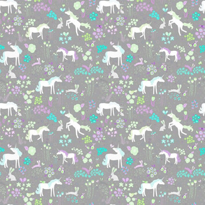 Unicorns Bunnies and Bubbles Lavender and Lime