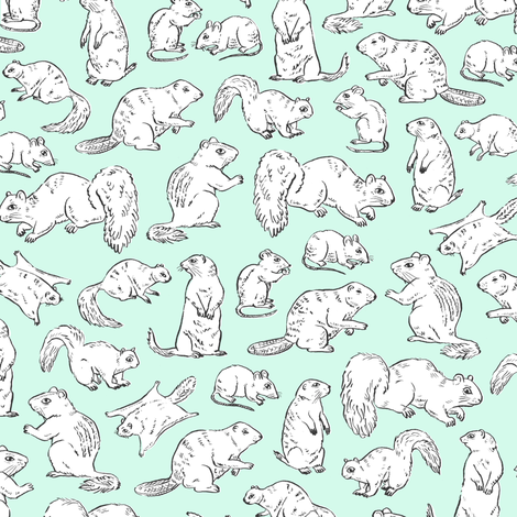 Rodents / Gnawers | White on Aqua/Mint fabric by imaginaryanimal on Spoonflower - custom fabric